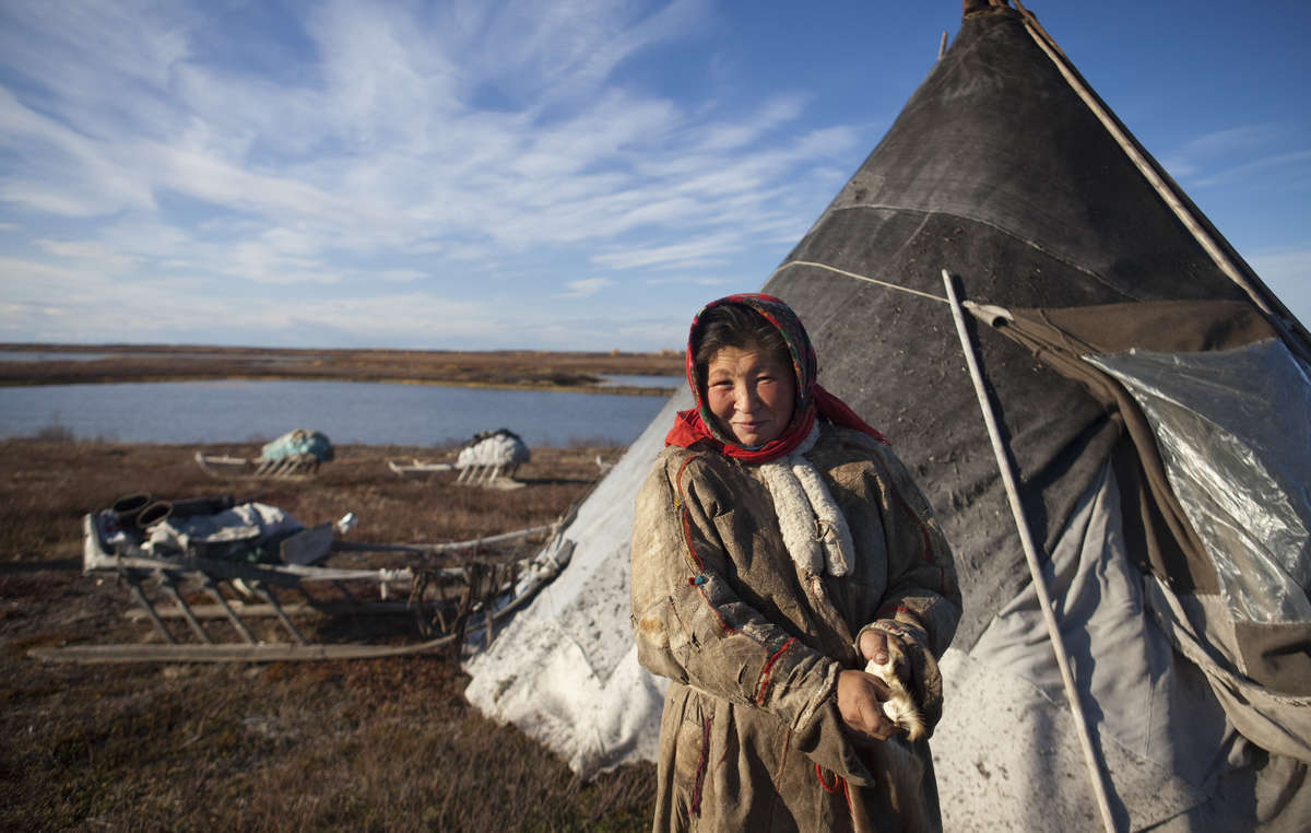 Nenzen-Frau, Jamal-Halbinsel, Russland.