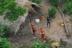 Uncontacted Indians in Brazil seen from the air during a Brazilian government expedition, May 2008.