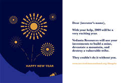 The New Year card Survival sent to Vedanta shareholders: \They couldn\t do it without you.\