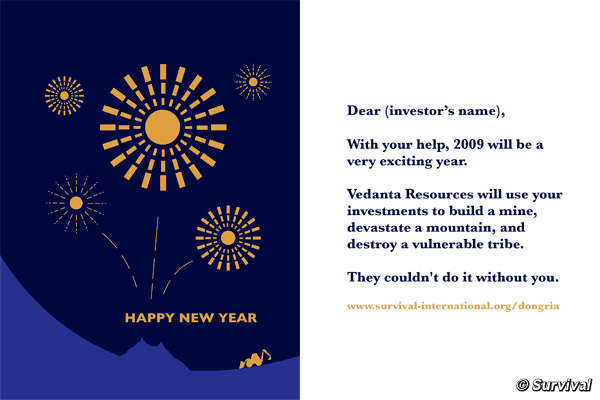 the new year card survival sent to vedanta shareholders they couldnt do