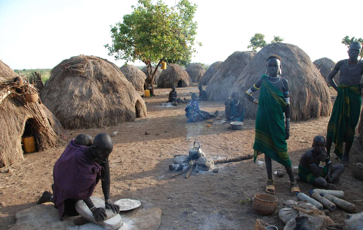 A Mursi village. The tribe have suffered brutal attacks.