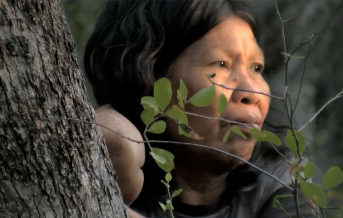 An Ayoreo woman who was forced to make contact due to her land being destroyed by bulldozers.