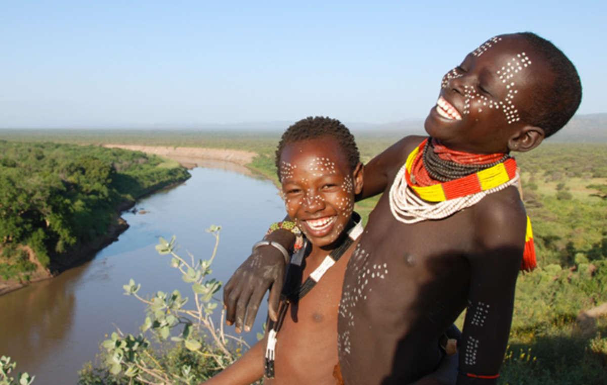Two Karo boys above Ethiopia's Omo River.