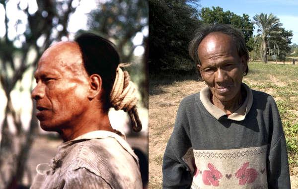 Parojnai, el día después de ser contactado en 1998, fuerte y saludable, y poco antes de su muerte por tuberculosis en 2008.