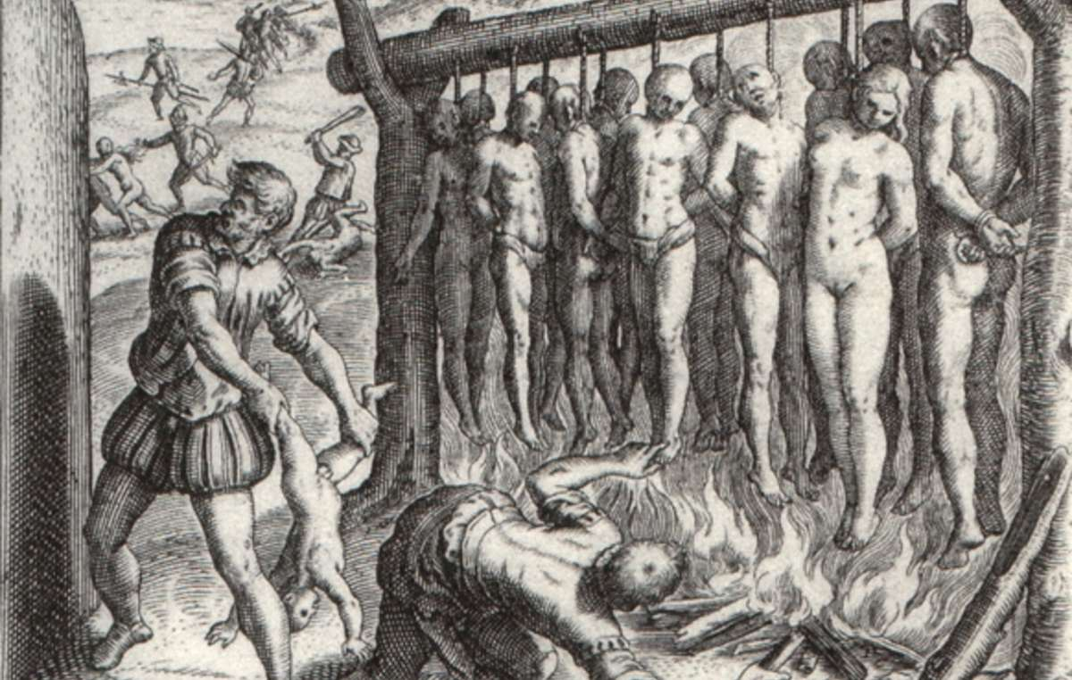 'They made gallows just high enough for the feet to nearly touch the ground ... and they burned the Indians alive.' Illustration by Theodor de Bry, published in 1552 in 'A Short Account of the Destruction of the Indies', written by Spanish Dominican friar Bartolomé de las Casas in 1542 .