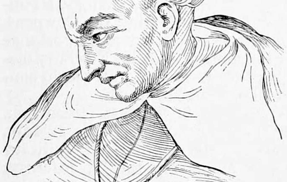An illustrated portrait of Spanish Dominican friar Bartolomé de las Casas, the author of 'A Short Account of the Destruction of the Indies', written in 1542 and published in 1552.