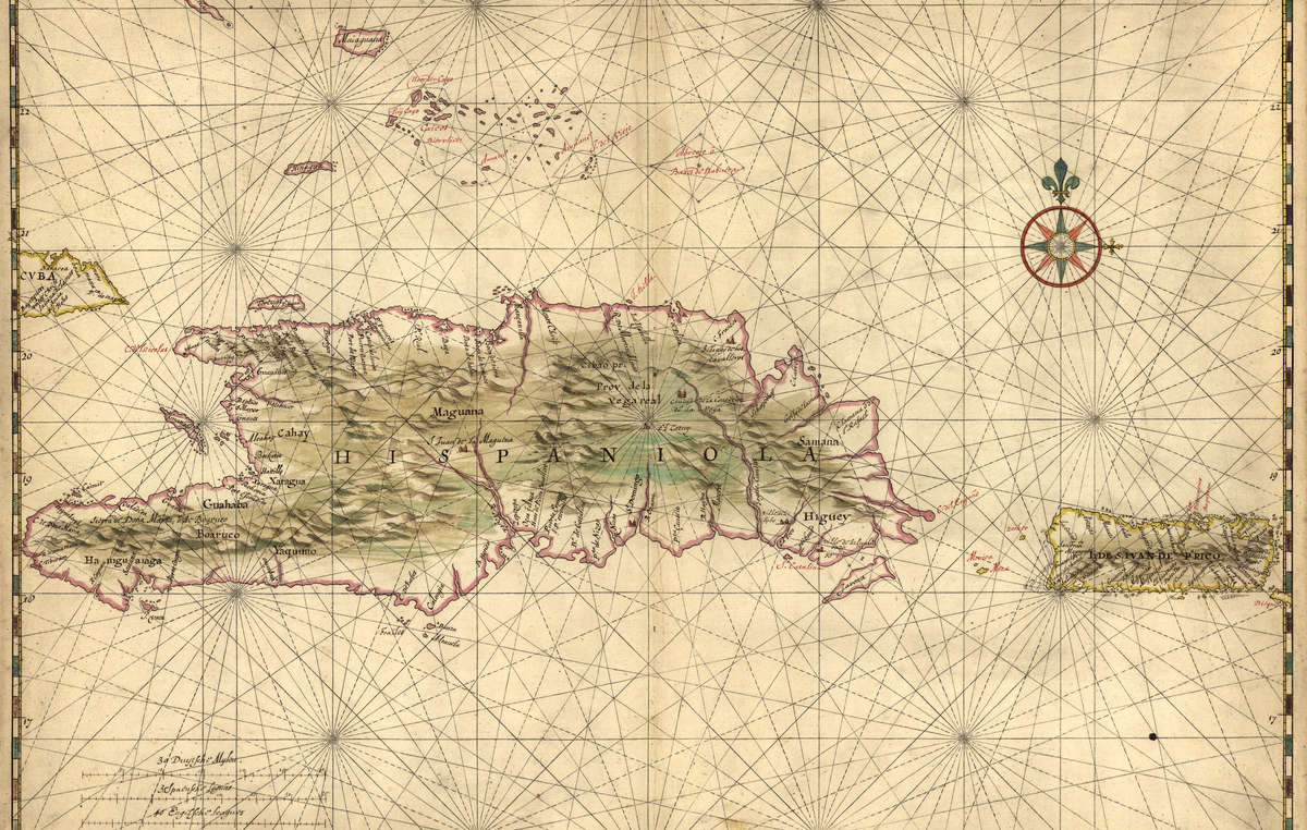 Nautical chart of Hispaniola and Puerto Rico by Joan Vinckeboons, c.1639.