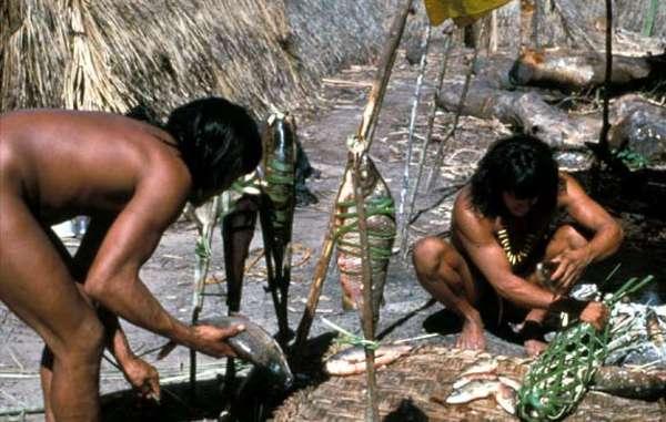 Homens Enawenê Nawê preservando peixe