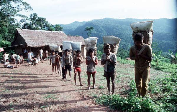 Eine Gruppe Batak-Sammler auf dem Weg ins Tal, Palawan, Philippinen.