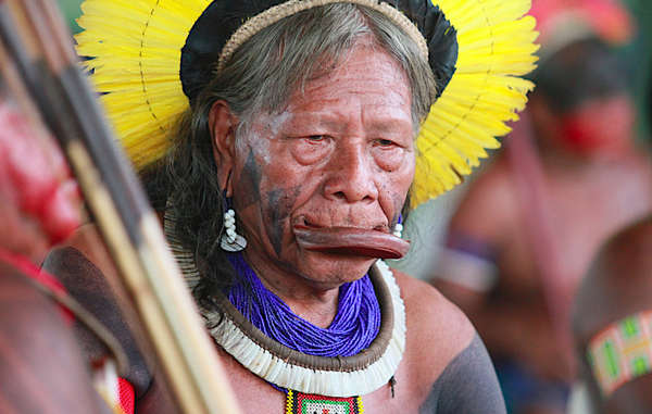 Raoni Metuktire, renowned Kayapó leader and activist, who has campaigned for indigenous rights and against the infamous Belo Monte dam in the Amazon.