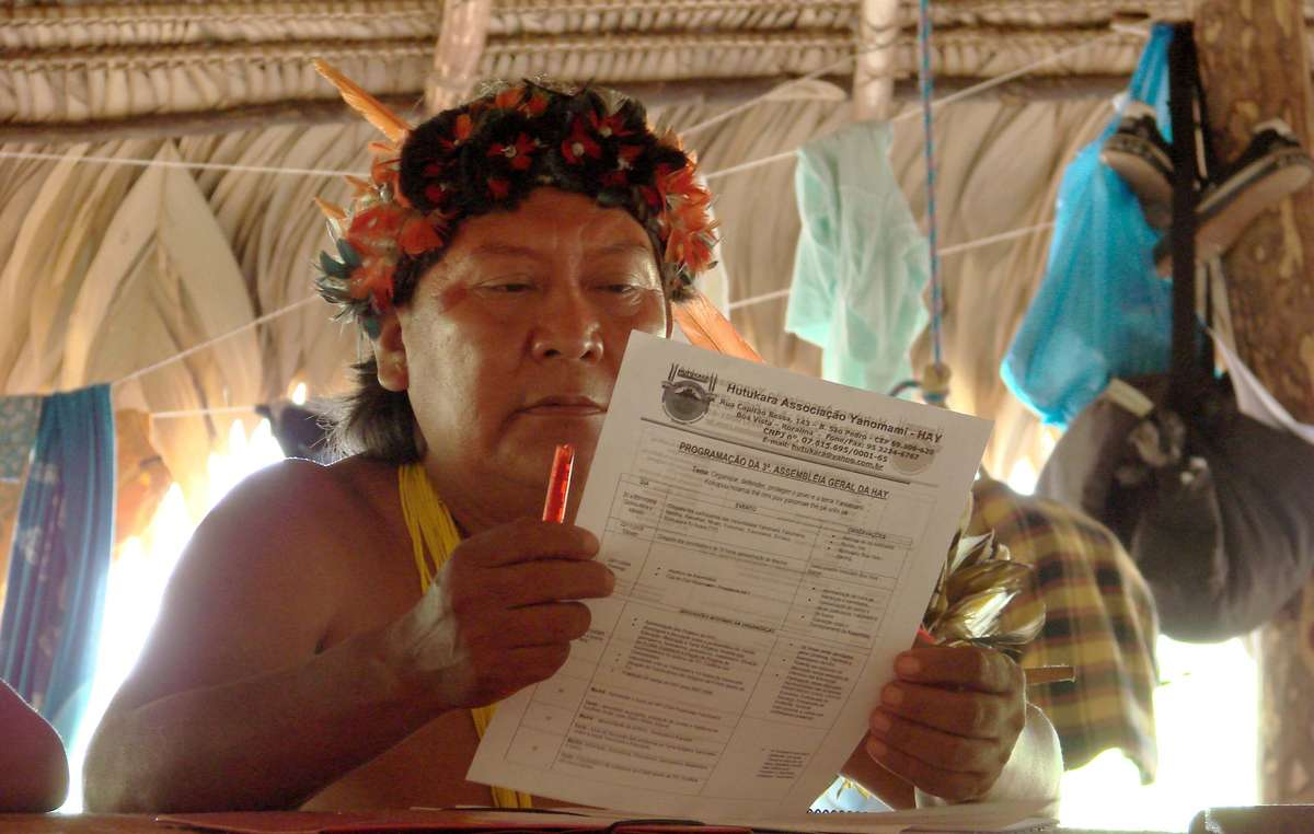 Davi Yanomami at Hutukara Yanomami Associations general assembly, 2008.