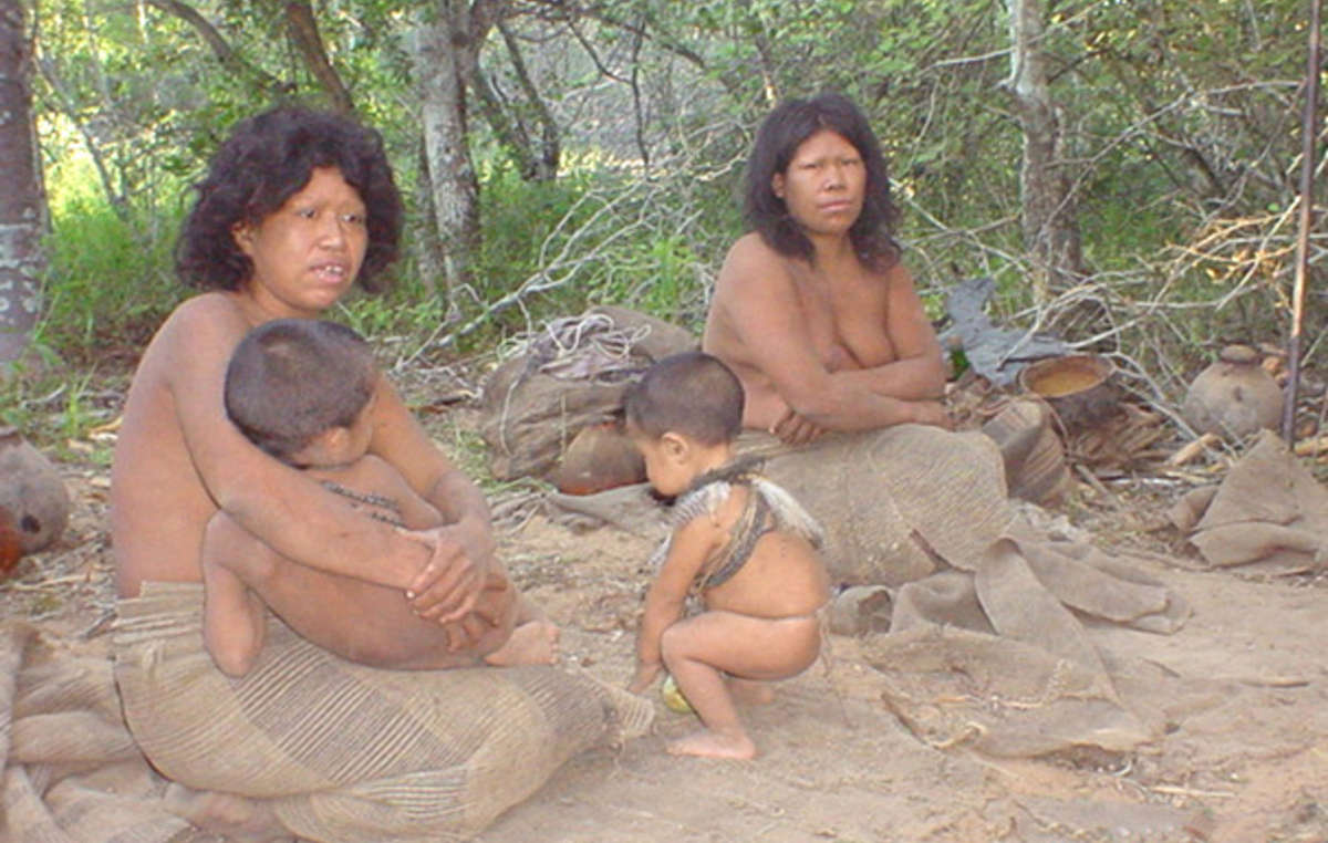 Members of the Paraguayan Ayoreo-Totobiegosode group on the day they were contacted for the first time, in 2004.