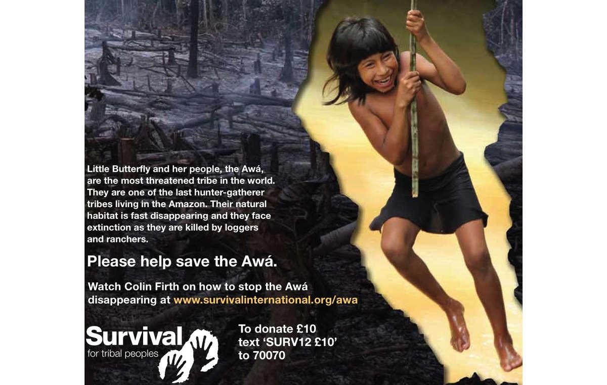 Panfleto da Survival sobre tribo mais ameaçada do mundo