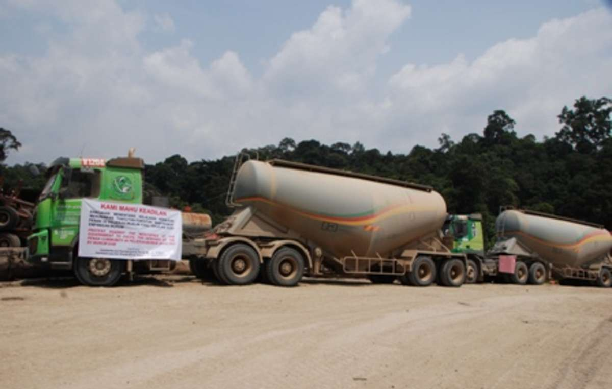 The protest has left cement tankers stranded by the roadside.