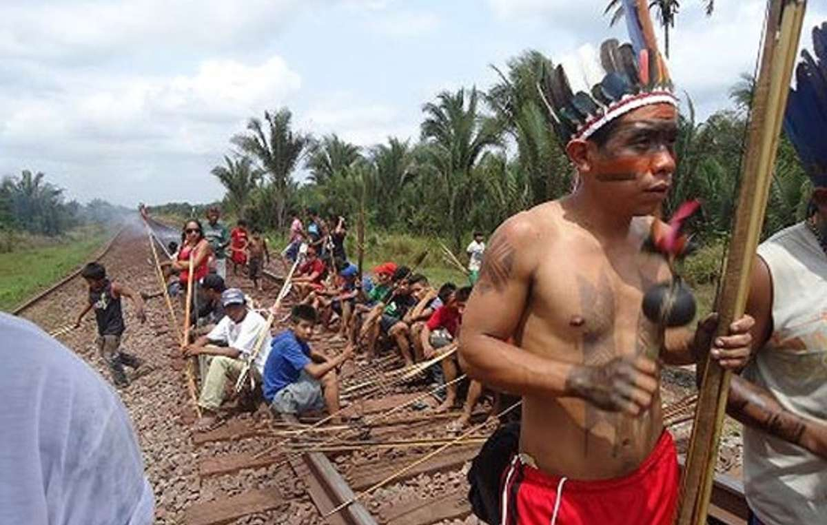 The massive Carajás railway line bordering the land of the Awá tribe brought illegal settlers into their land.