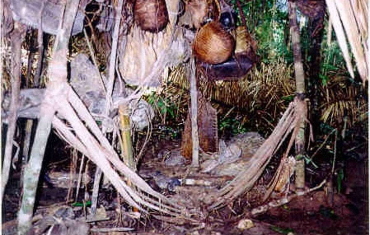 A hastily-abandoned house of uncontacted Indians, Rio Pardo, Brazil.