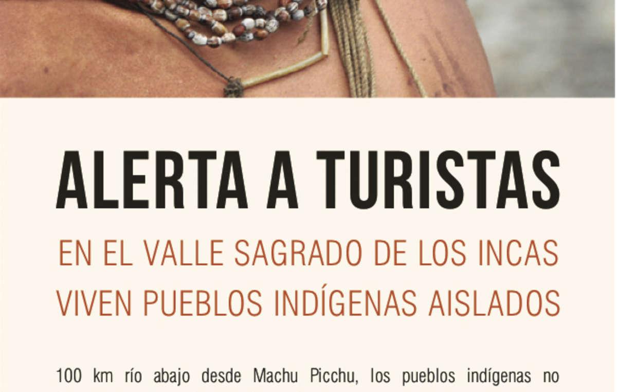 Folleto 'Alerta turistas' que Survival ha distribuido entre los visitantes que acudían a ver Machu Picchu.