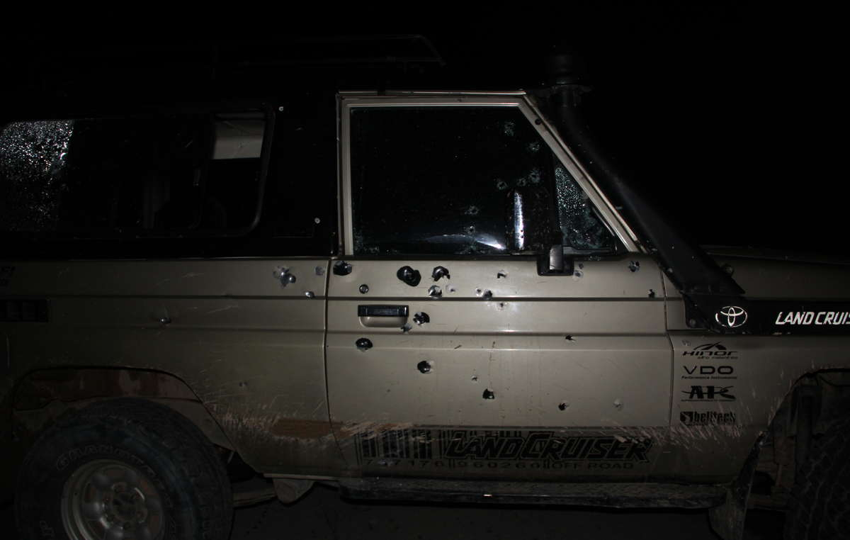 Mr Mejías car was hit by 40 bullets, but he miraculously escaped serious injury.