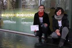 """""""Protesters in Berlin, Germany, handed in a letter to the Brazilian embassy."""""""