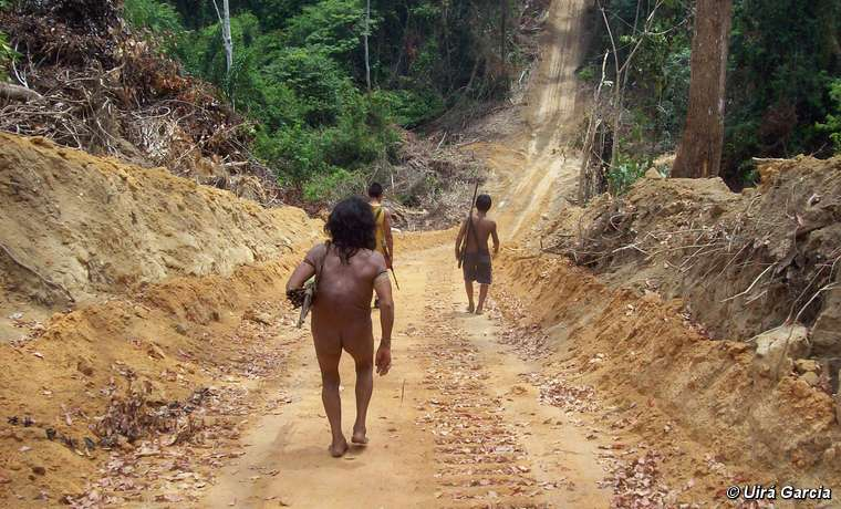 Awá men travel down a road cut by loggers, Brazil.