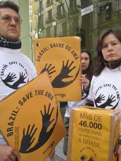 """""""Protesters in Madrid, Spain, handed in a letter to the Brazilian embassy."""""""