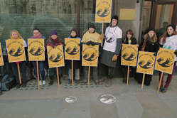"""""""People protested in London in support of Brazil's Awá."""""""