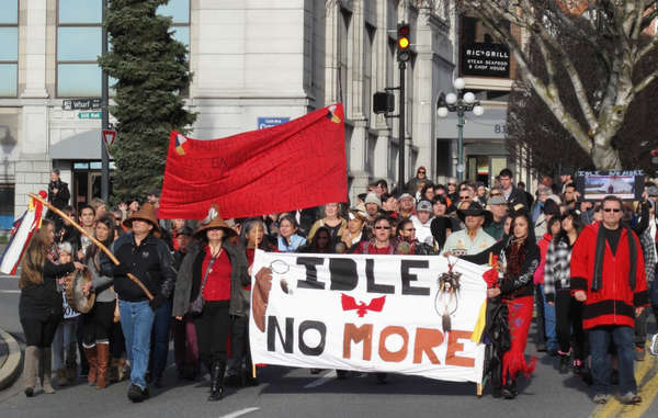 Idle no more protesters marching in Victoria, BC, December 21, 2012.