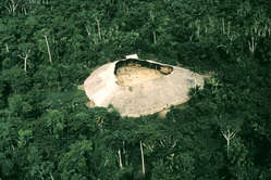 A Yanomami maloca. The Yanomami live in large, circular, communal houses called yanos or shabonos. Some can house up to 400 people. The central area is used for activities such as rituals, feasts and games.