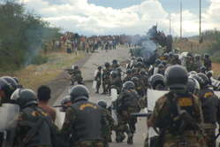 Police break up road blockade near Bagua, Peru, June 5th