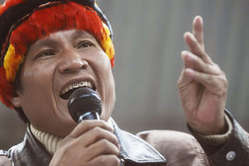 Indigenous leader Alberto Pizango was arrested on his return to Peru