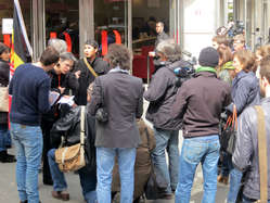 """""""Media outside the auction house in Paris."""""""