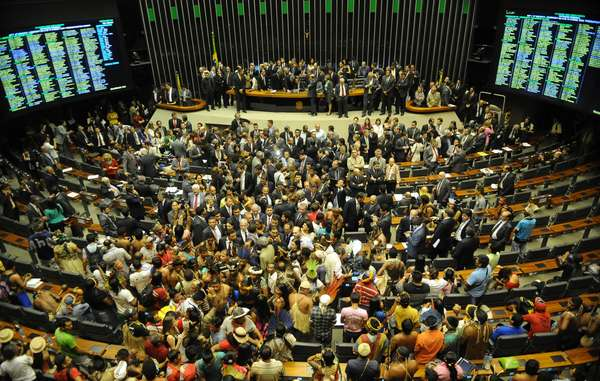 Brazilian Indians protest in Congress against constitutional amendments
