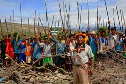 Indigenous people protest near Bagua a week before the violence.