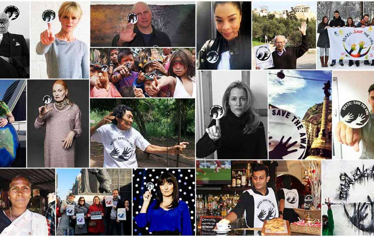 Prominente und Hunderte Menschen weltweit haben die Kampagne für die Awá mit Survivals Awá-Symbol unterstützt.