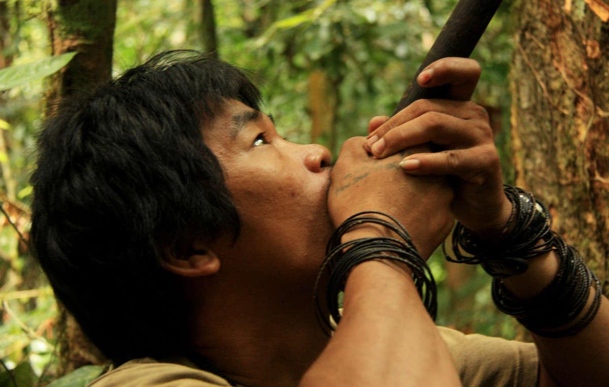 Ein Penan bei der Jagd mit einem Blasrohr.
