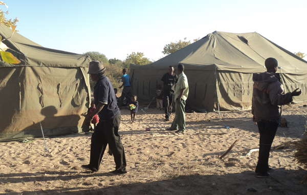 Government officials and police set up camp at Ranyane to pressurize residents into relocating.
