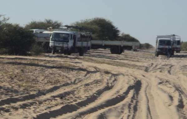 Relocation trucks arrive at Ranyane.