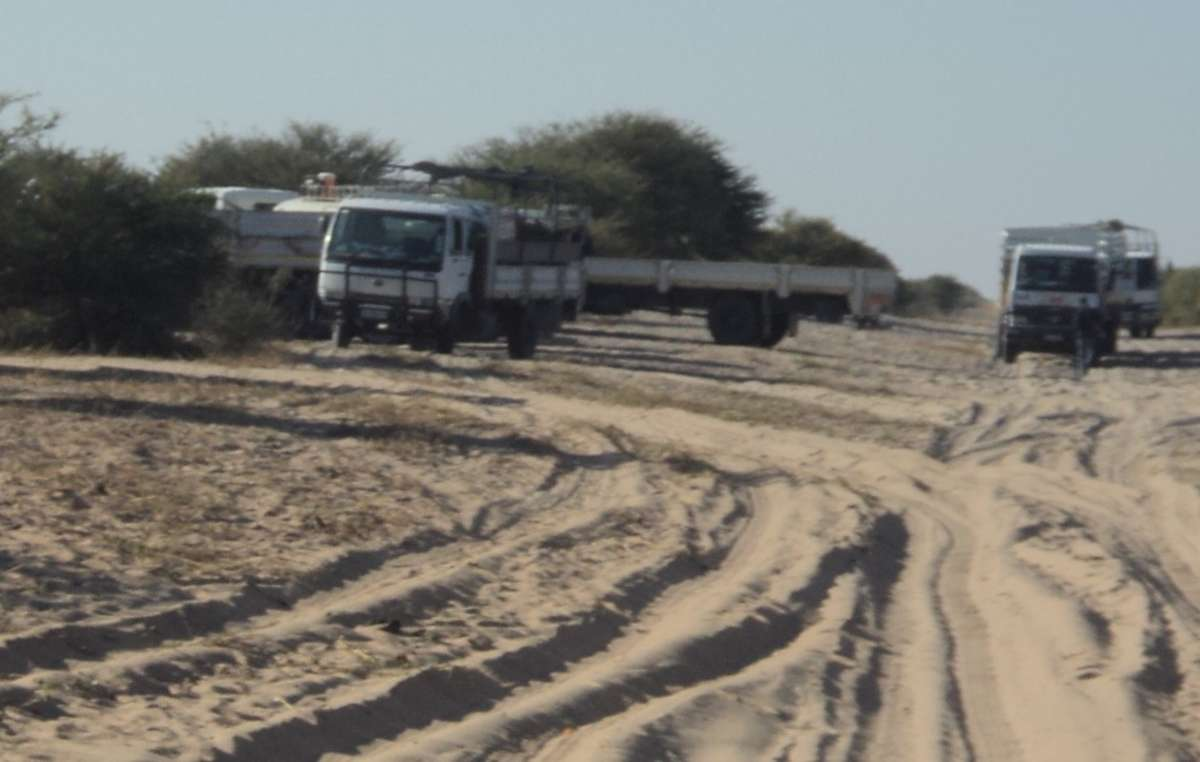 Relocation trucks arrive at Ranyane.