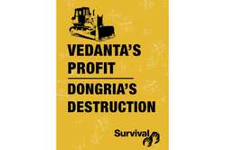 Survival banner outside Vedantas recent AGM in London.