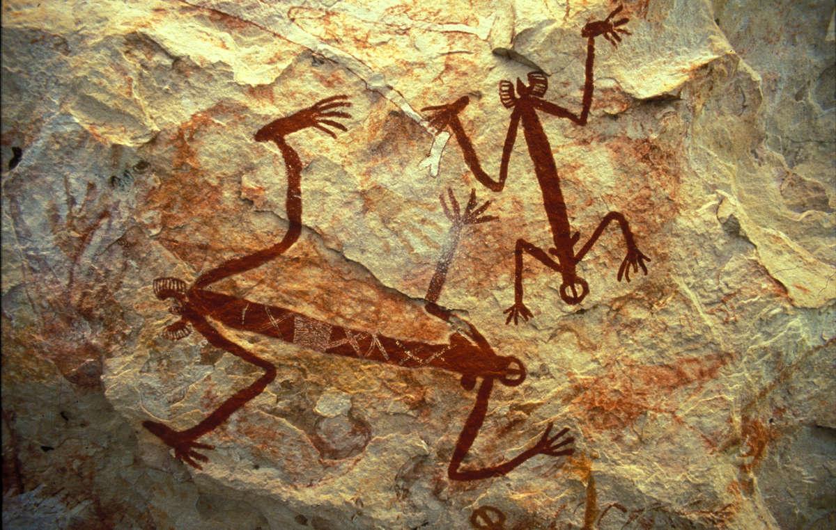 Peintures rupestres aborigènes, Terre dArnhem occidentale, Australie. Les peuples autochtones dAustralie sont les plus anciennes civilisations de la Terre : leurs ancêtres sont arrivés sur le continent il y a plus de 60 000 ans.