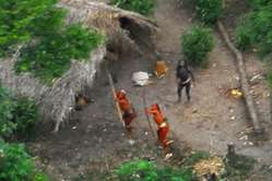 Uncontacted Indians photographed in the Brazilian Amazon near the Peruvian border, May 2008.