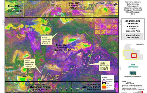 Yaguarete ha talado una nueva vía en el bosque de los indígenas aislados, etiquetadas como Picada identificada en la imagen. Tienen previsto talar todo lo que queda a la derecha de esta vía.