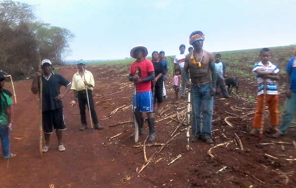 The Guarani Apy Ka'y community has returned to its ancestral land currently occupied by a sugar cane plantation, amidst threats of death by gunmen.