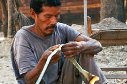 A Totobiegosode man making string. The Totobiegosode's forest is being illegally destroyed by Brazilian ranchers.