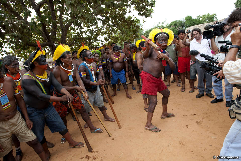Kayapo Indians At A Week Long Protest Against The Belo Monte Hydroelectric Dam In Late