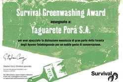 Il Survival Greenwashing Award 2010 è stato vinto dalla compagnia brasiliana Yaguarete Porá.