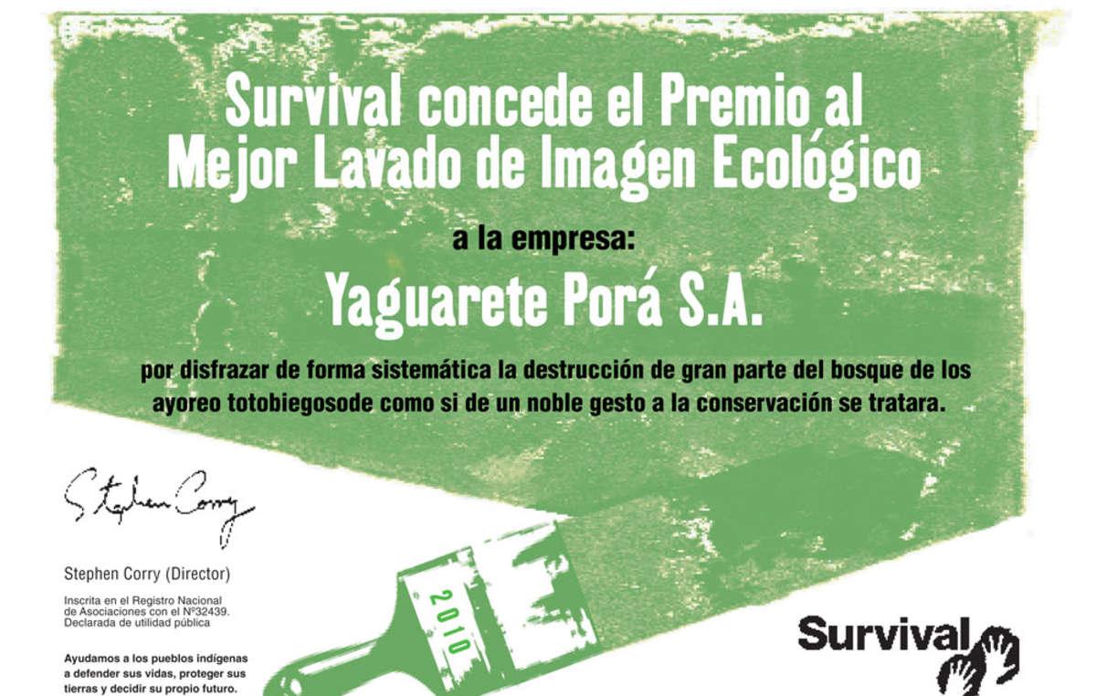 La empresa de ganadería Yaguareté Porã gana el Premio al Mejor Lavado de Imagen Ecológico de Survival.