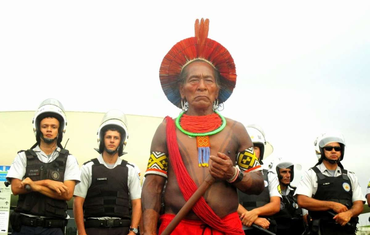 Thousands of indigenous demonstrators in Brazil are protesting against the onslaught of their hard-won land rights.
