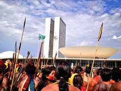 """""""Brazilian Indians are protesting outside Congress in Brasília."""""""