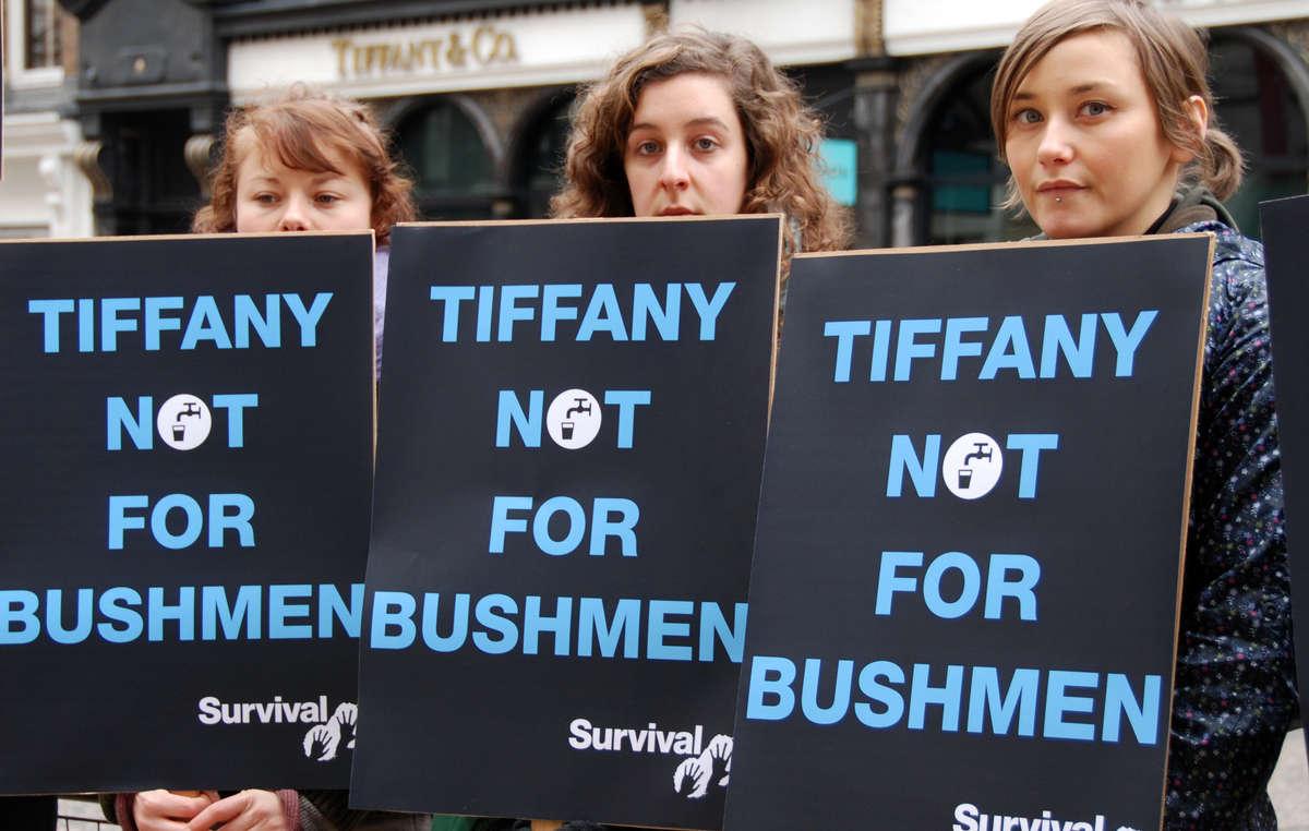 Protestors outside Tiffany's store in London